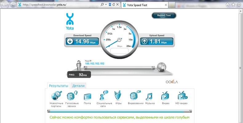 Speedtest Yota