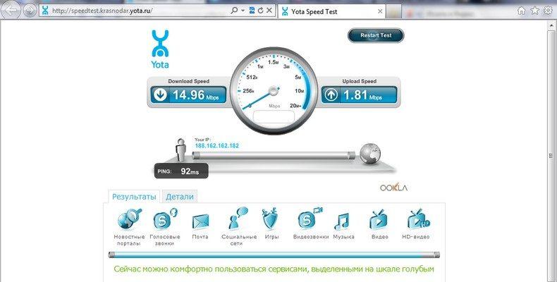 Speedtest Yota